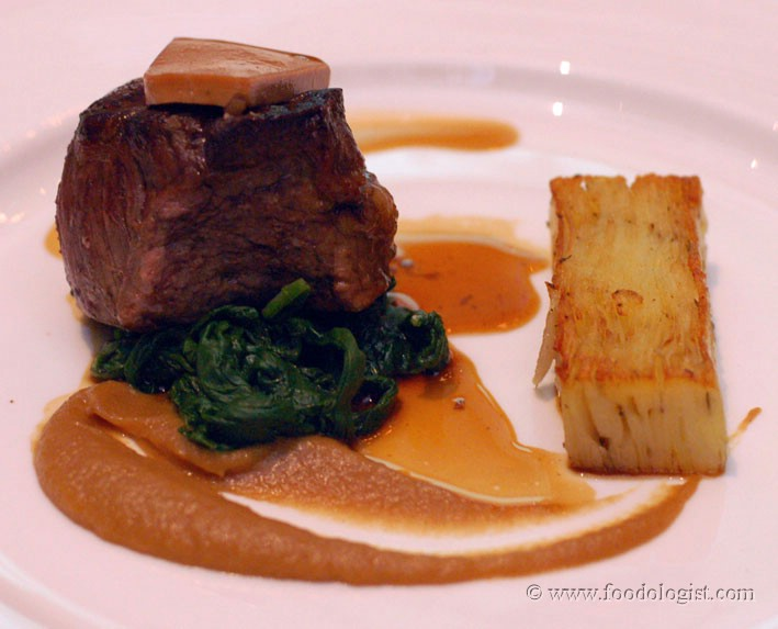 Roasted Aged Beef Fillet with Potato Gratin, Spinach and a Cepe Madeira Sauce